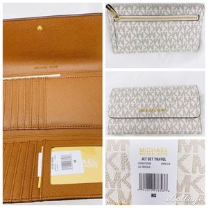 Michael Kors Large trifold Wallet vanilla acorn